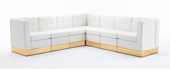 Tufted White with Custom Kick Panel - Arrangement G7