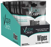 (12 CASE) Vape Clean Cleaning Wipes (20 Count Individually Wrapped)