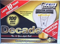 (4 PACK) Feit Decade 100W 120V A19 Clear Long Life Bulb E26 Base, 100ACL25K