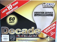 (4 PACK) Feit Decade 60W 120V A19 Frosted Long Life Bulb E26 Base, 60A25K