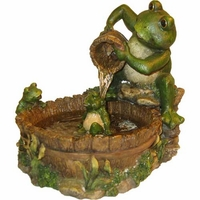 Alpine Bathing Frog Family Tabletop Fountain TT2508