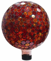 Alpine Mosaic Glass Gazing Ball - Red and Yellow GRS118