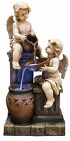 Alpine Tall Lighted Cherub Floor Fountain GIL842L
