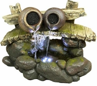 Alpine Two Pots on a Bridge Lighted Tabletop Fountain WIN526