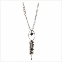 Black and Crystal Charm Necklace, 28 inches 39996