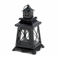 Black Railroad Candle Lantern 10015412