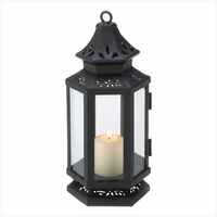 Black Stagecoach Candle Lantern, 8 inches 13361
