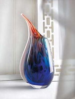 Cobalt and Fire Art Glass Vase 15134
