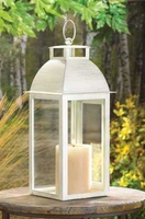 Distressed Finish Ivory Candle Lantern, 13 1/4 inches  D1047