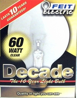 Feit Decade 60W 120V G25 Mini-Globe Clear E26 Base Bulb, 60G25 60G2515K