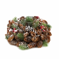 Frosted Pine Cone Wreath Candleholder 10015491