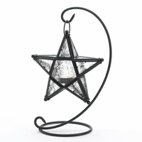 Glass Star Candle Lantern with Stand, 13 inches D1081