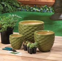 Green Basket Weave Planter Set 10015342