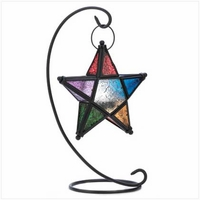Hanging Colored Star Candle Lantern, 14 inches 14122