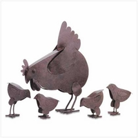 Hen and Chicks Garden Sculptures 31170