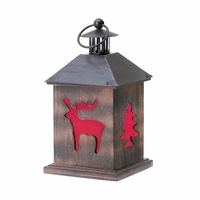 Holiday Wooden Candle Lantern 10015962