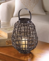 Knotted Rattan Candle Lantern, 15 inches 10015537