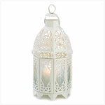 Lattice Candle Lantern, White 13364