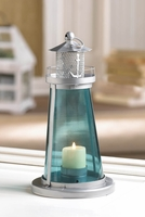 Lighthouse Candle Lantern, 9 1/2 inches, Blue 10015433