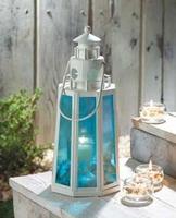 Ocean Blue Lighthouse Candle Lantern 15217