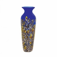 Patterned Blue Art Glass Vase 15136