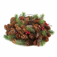 Pine Cone Wreath Candleholder 10015490