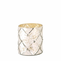 Quilted Mercury Glass Candleholder, Medium 10015868