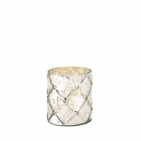 Quilted Mercury Glass Candleholder, Small 10015867