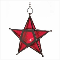 Red Glass Star Candle Lantern 12288