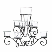 Scrollwork Candle Stand with Vase, 9 3/4 inches 10015370