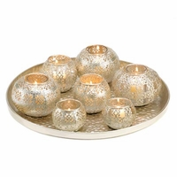 Silvery Candle Centerpiece  D1283