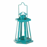 Small Lighthouse Candle Lantern, Aqua 10016388