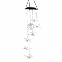 Solar Crystal Butterfly Wind Chime, 30 inches D1145