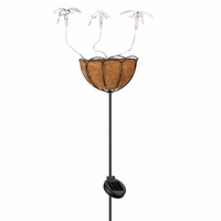 Solar Hummingbirds Planter Basket Stake D1146