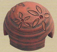 Terra Cotta Bowl Fountain Pump Cover with Flowers 12050