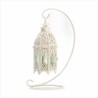 White Candle Lantern with Stand, 13 inches 37439