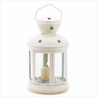 White Colonial Candle Lantern, 9 1/2 inches 14124