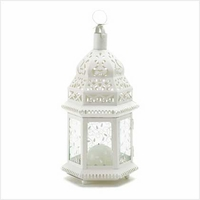 White Filigree Candle Lantern, 12 1/2 inches 38465