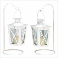 White Railroad Candle Lantern Duo 39572