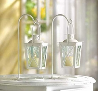 White Railroad Candle Lanterns, Pair 39572