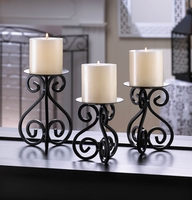Wrought Iron Scrolled Candleholder Set 10015838