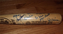 1969 New York Mets World Series Champions team autographed bat Tommie Agee Cleon Jones Jerry Koosman Nolan Ryan Tom Seaver (JSA)