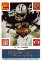 1986 Dallas Cowboys McDonald's 25 card team set (Tony Dorsett Ed Too Tall Jones Herschel Walker Randy White)
