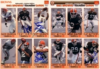 1993 Cleveland Browns autographed McDonald's GameDay card sheet set (Michael Dean Perry Bernie Kosar)
