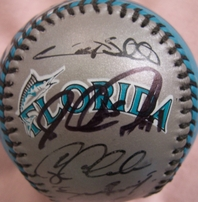 1997 Florida Marlins World Series Champions team autographed baseball (Luis Castillo Jeff Conine Cliff Floyd Livan Hernandez Gary Sheffield)