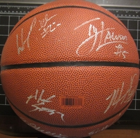 2007-08 North Carolina Tar Heels team autographed NCAA Final 4 basketball Wayne Ellington Tyler Hansbrough Ty Lawson Roy Williams