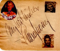 Betty Hutton & Ilona Massey autographed autograph album or book page