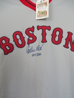 Carlton Fisk autographed 1975 Boston Red Sox authentic Mitchell & Ness road throwback jersey inscribed HOF 2000 ltd edit 27 (Steiner)