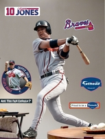 Chipper Jones autographed Atlanta Braves Fathead lifesize decal poster
