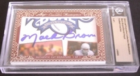 Darrell Royal & Mack Brown certified autograph 2012 Leaf Executive Masterpiece Dual Cut Signature card #1/1